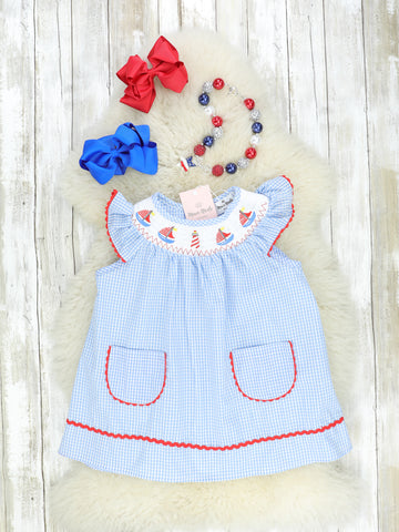 Light Blue & Red Smocked Sailboat Dress