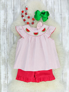 Red Checked Smocked Watermelon Outfit