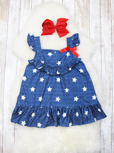 Star Ruffle Dress- Navy
