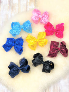 Sparkly 5 Inch Alligator Clip Bow - 9 Colors