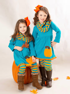 Turquoise & Orange Pumpkin 3 Piece Outfit