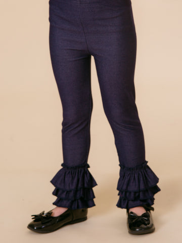 Bell Ruffle Legging - Denim Knit