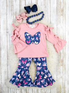 Butterfly Bow Top & Navy Bell Bottoms Outfit