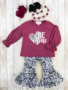 "Burgundy ""Be Mine"" Ruffle Top & Leopard Bell Bottoms Outfit"
