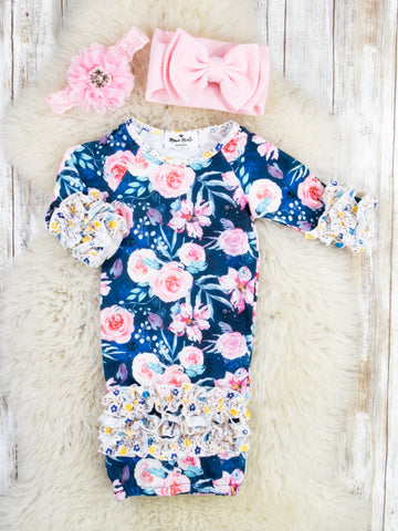 Navy / Pink Rose Icing Sleep Gown