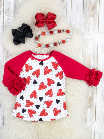 Red Polka Dot Hearts Icing Ruffle Top