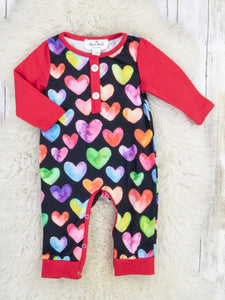Red Colorful Hearts Romper