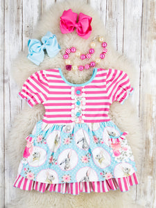 Pink Striped / Blue Bunny Ruffle Dress