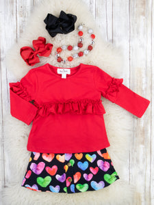 Red Ruffle Top & Colorful Hearts Skirt Outfit