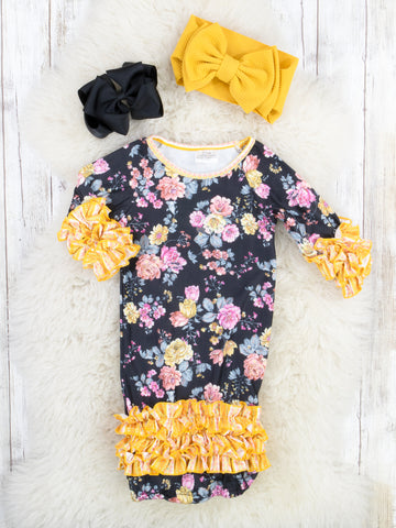 Black / Mustard Orchids Icing Sleep Gown