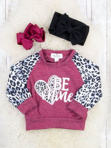 "Leopard / Burgundy ""Be Mine"" Shirt"