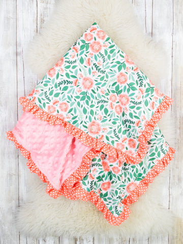 Coral / Green Floral Minky Blanket