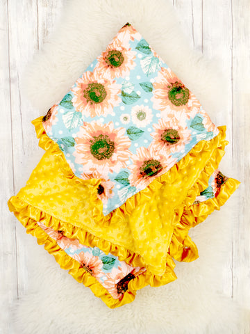 Mustard / Blue Sunflower Minky Blanket