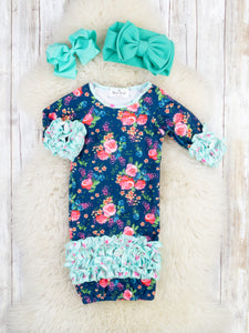 Navy / Mint Rose Icing Sleep Gown
