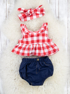 Americana Crop Outfit with Headwrap