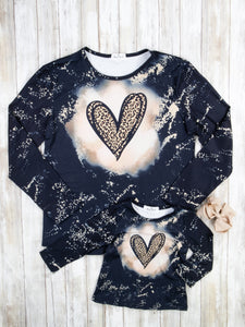 Mom & Me Heart Black Top/Shirt