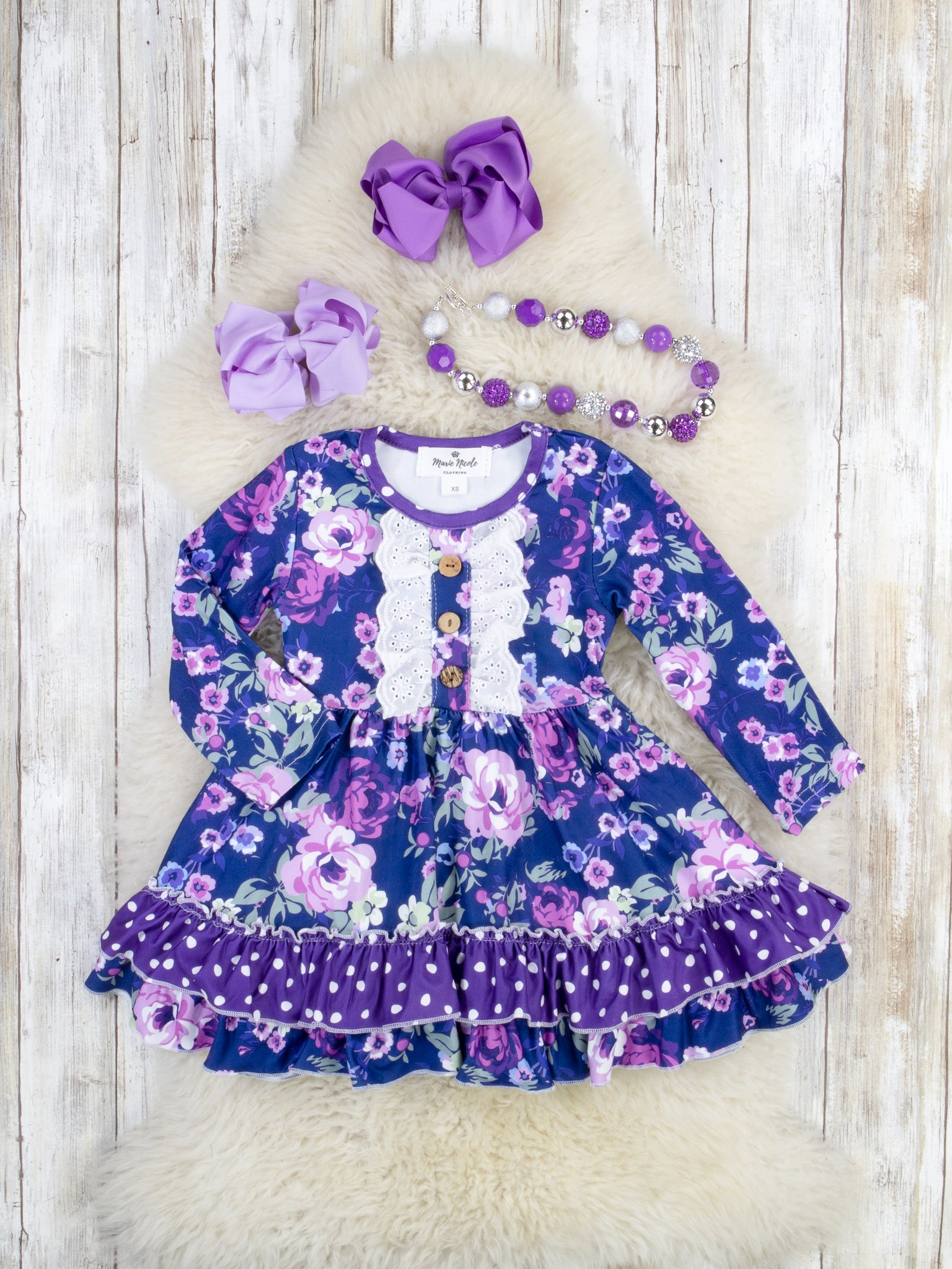 Purple Violets Ruffle Dress