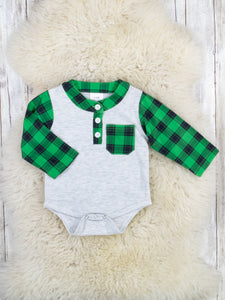 Green Plaid Bubble Romper