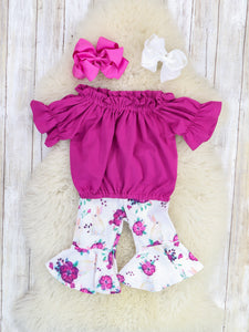 Floral Magenta Ruffle Top & Bell Capris Outfit