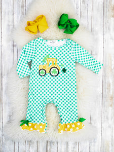 Checkered Shamrock Tractor Ruffle Romper