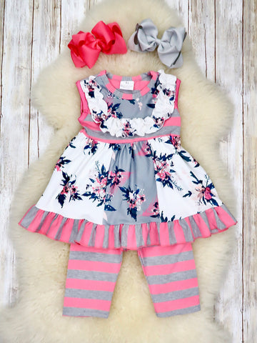 Grey & Pink Rose Garden Striped Outfit