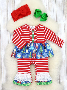 Red / White Striped Nutcracker Ruffle Romper