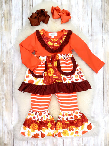 Pumpkin Pie Ruffle Top & Striped Bell Bottoms Outfit