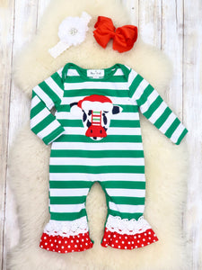 Green Striped Christmas Cow Ruffle Romper