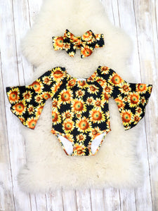 Black Bell Sleeve Sunflower Bubble Romper & Headband