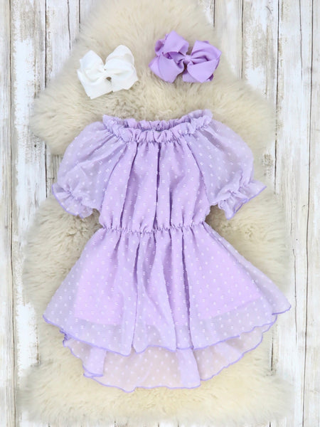 Swiss Dot Ruffle Hi-Lo Dress - Lavender
