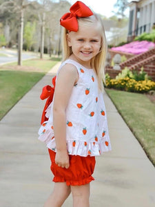 Strawberry Cotton Bow Top with Shorts Outfit