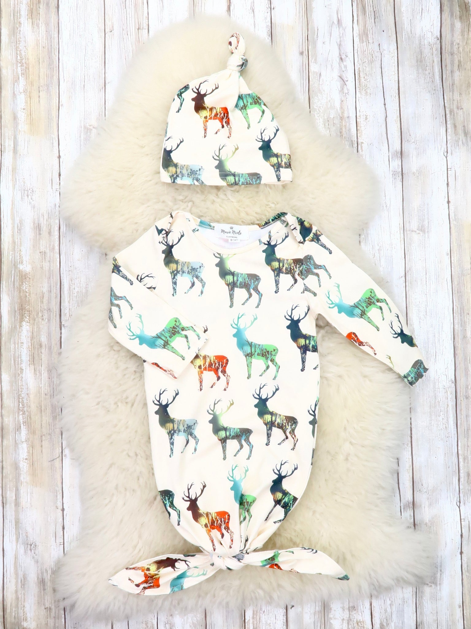 Colorful Deer Sleep Gown & Hat