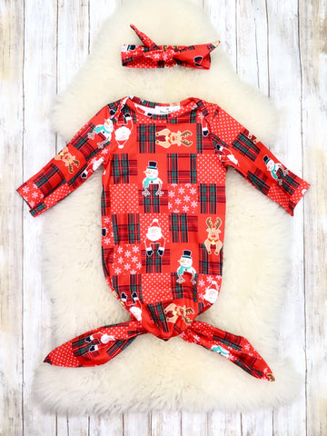 Red Snowman & Reindeer Sleep Gown & Headband