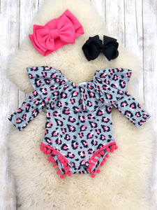 Hot Pink / Gray Leopard Ruffle Bubble Romper