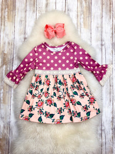 Ash Polka Dot Rose Pink Ruffle Dress