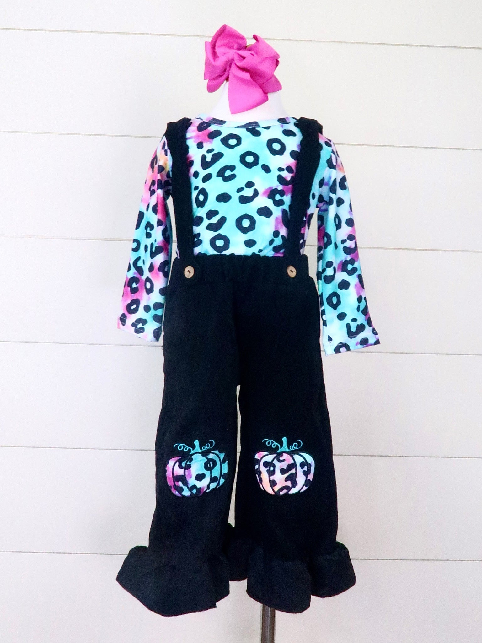 Rainbow Leopard Pumpkin Top & Suspender Pants Outfit
