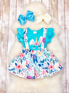4d9275aa6e Blue Bunny Unicorn Ruffle Shirt with Floral Suspender Skirt- 2pcs Cotton  Outfit