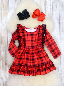 Red / Black Plaid Long Sleeve Ruffle Dress