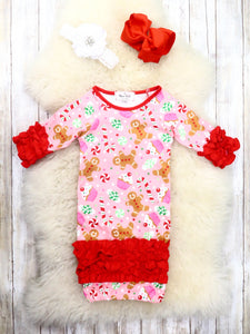 Pink / Red Gingerbread Man Icing Sleep Gown