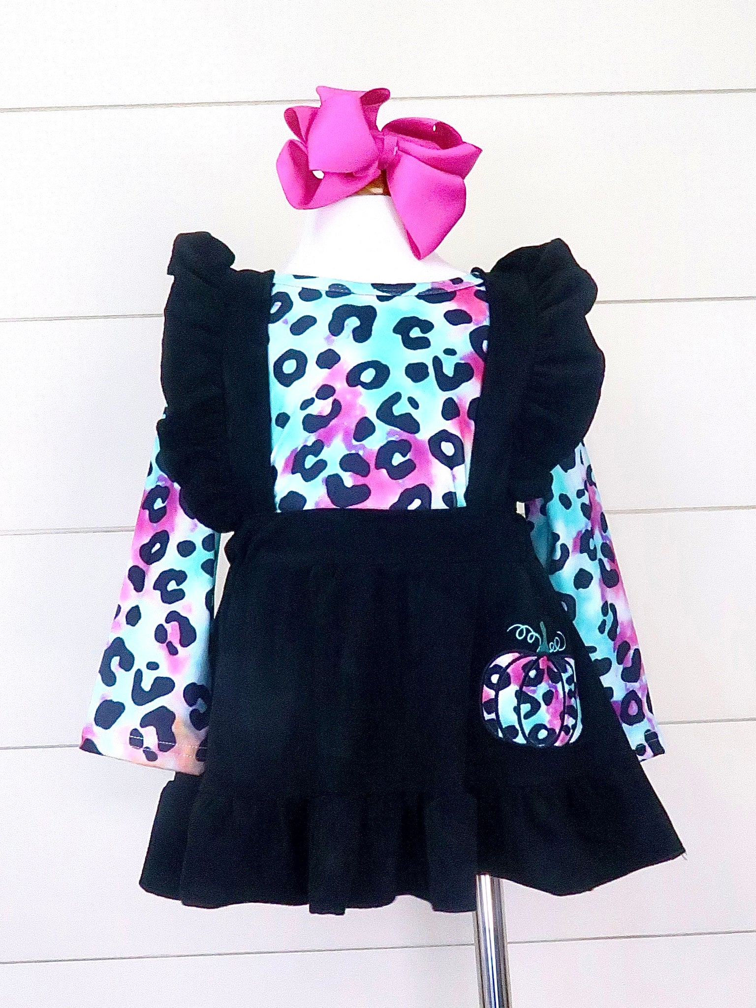 Rainbow Leopard Pumpkin Suspender Dress