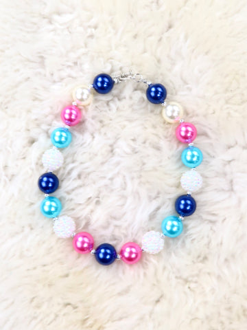 Teal / Navy / Pink Pearl Bubblegum Necklace