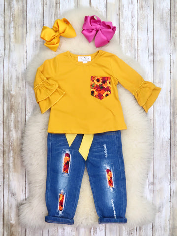Mustard Sunflower Ruffle Top & Distressed Denim Outfit