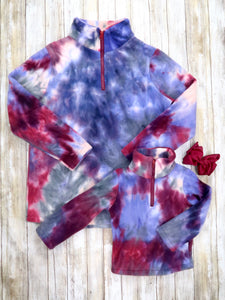 Mom & Me Burgundy Tie-Dye Fleece Pullover
