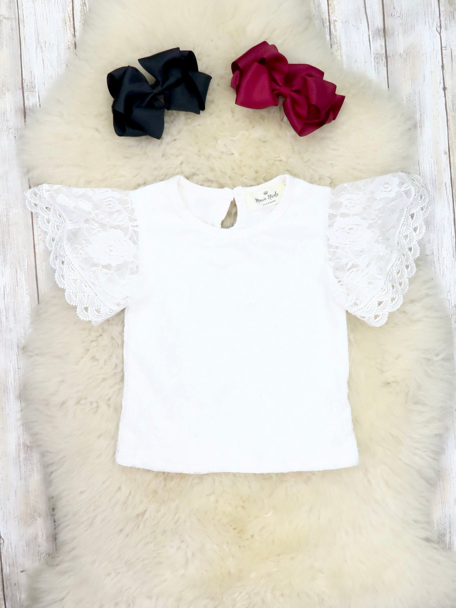 Lace Ruffle Short Sleeve Top - White