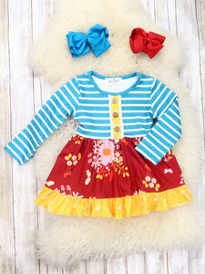 Blue Striped Cranberry Floral Ruffle Dress