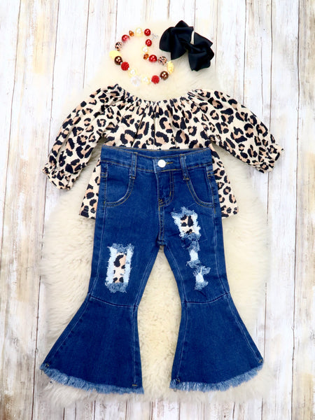 Leopard Ruffle Top & Distressed Denim Bell Bottoms Outfit