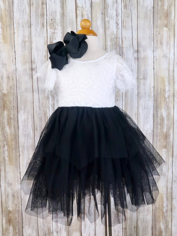 Black & White Open-V BACK Tulle Dress
