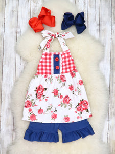 Red Rose Tie Halter and Ruffle Shorts Set