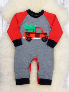 Red / Gray Christmas Tree Truck Romper