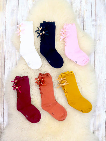 Button Bow Boot Socks - 6 Colors Available